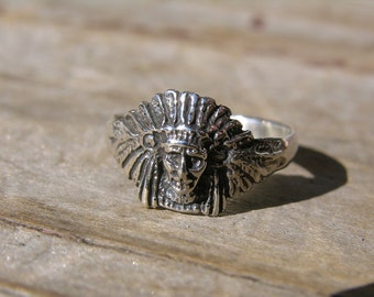 Sterling Silver Small American Indian Head Ring
