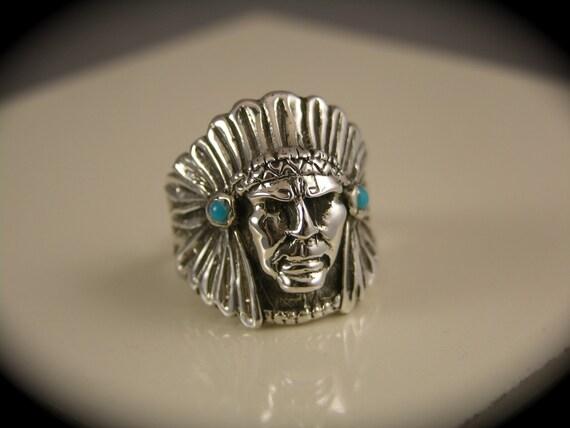 Silver Native Chief Head Ring