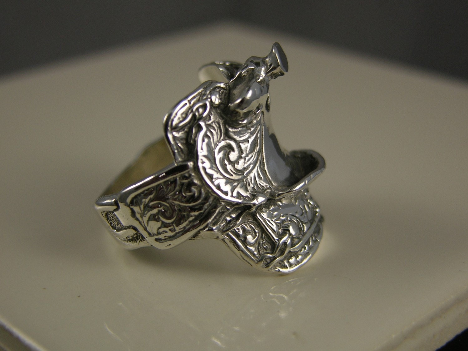 Sterling Silver Large Saddle Ring With By Freedomjewelryusa