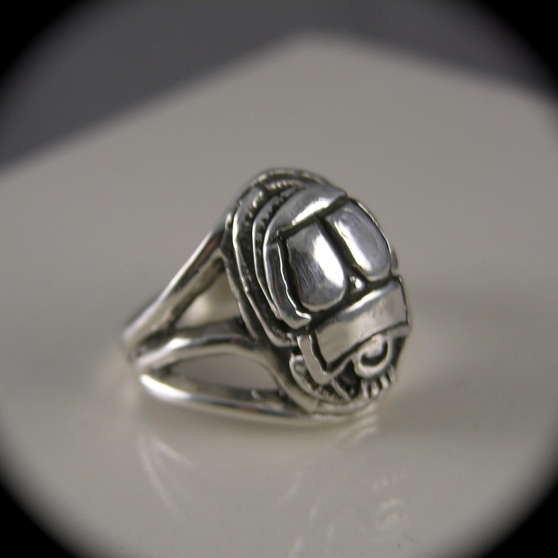 scarab beetle ring sterling silver