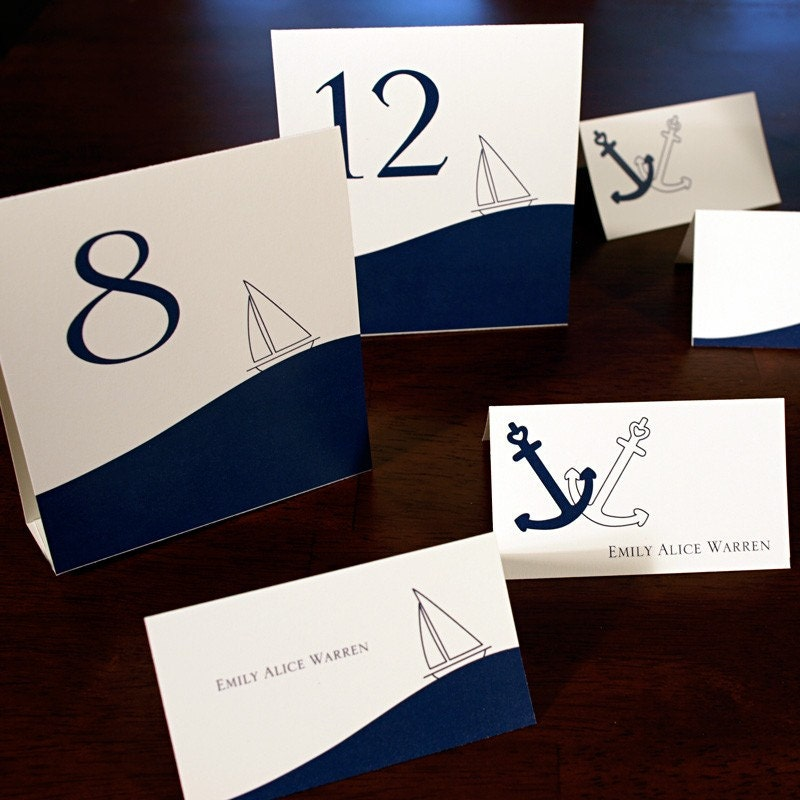 Wedding Table Tents And Place Cards Nautical Simplicity