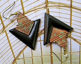 Vintage BURNISHED COPPER and BLACK Earrings, Pierced Earrings, dangle earrings, drop vintage earrings, gift for her, art deco earrings,