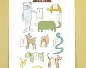 Animal Tutors:  8x11 Children's Print