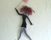 Metal Wall Art Umbrella Lady Sculpture Chic Fashion Walking In The Rain Redhead  by Frivolous Tendencies