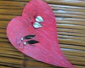 Heart jewelry tray upcycled metal rose red valentines hand sculpted 5 x 8
