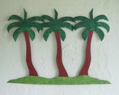 Palm tree art sculpture - Palm Trio - upcycled metal wall decor coastal beach cottage  17 x 23