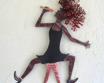 Metal Wall Art - Lady Jazz Singer -  Handmade Recycled Metal Wall Hanging