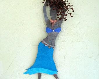 Metal art sculpture dancing lady reclaimed metal wall art belly dancer home decor