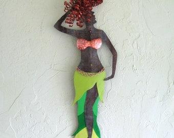 Art sculpture - Belly Dancer - recycled metal  wall decor dance sculpture