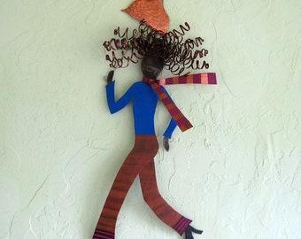 Metal Wall Art Umbrella Lady Metal Wall Sculpture Chic FashionRedhead 11 x 24 By Frivolous Tendencies