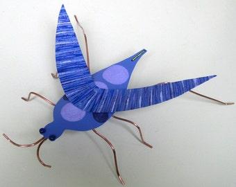 Metal Art Sculpture - Grasshopper - Recycled Metal Garden Sculpture Indoor Outdoor