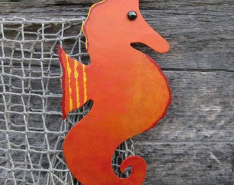 Seahorse ocean art -Sale - Marine metal art sculpture small seahorse metal wall decor