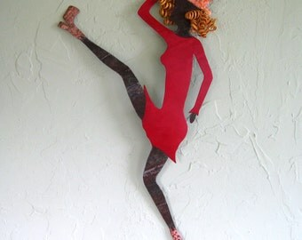 Wall art sculpture -Georgia - Dancer repurposed metal sculpture  red