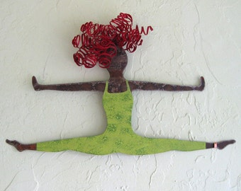 Art Sculpture Metal Wall Dancer Gymnast Sports Figure Recycled Metal Lime green Red head 11 x 19