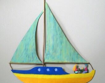 Sailing art - Sailboat - reclaimed metal wall art nautical ocean art by Frivolous Tendencies