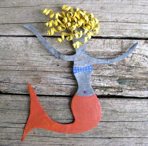 Rosie Small Metal Mermaid Wall Sculpture