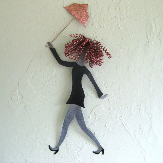 Metal Umbrella Wall Decor : Metal wall art umbrella lady sculpture chic fashion walking in
