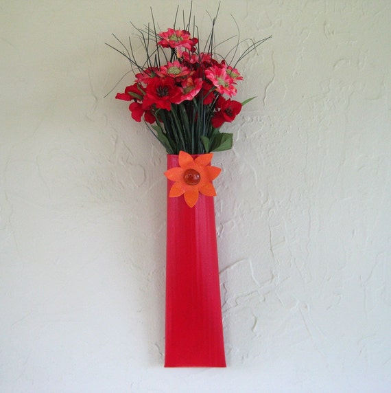 Original Metal Wall Art - Sconce - Hand Painted Red Orange With Flowers