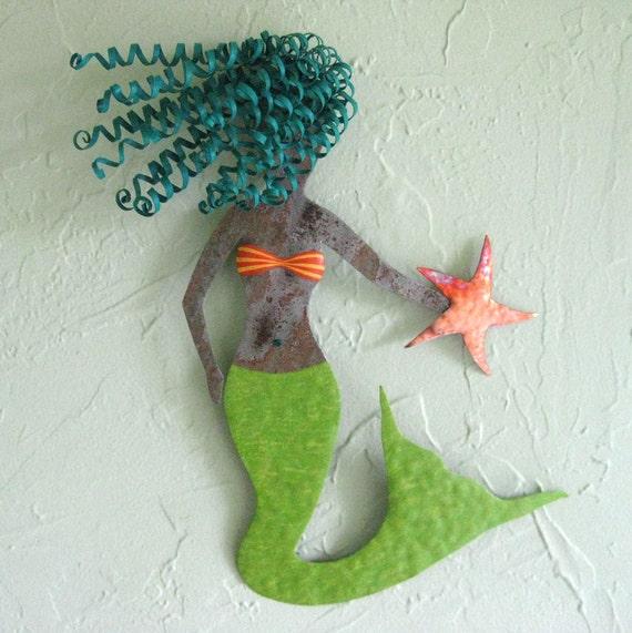 Marine art Mystical Mermaid - metal wall decor ocean fish sealife bech cottage coastal