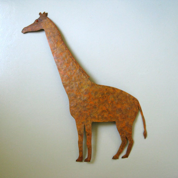 Metal Wall Decor Animals : Sale giraffe large metal wall sculpture by frivoloustendencies
