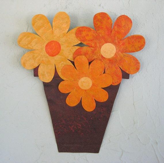 kitchen wall art flower pot metal sculpture garden vase. Black Bedroom Furniture Sets. Home Design Ideas