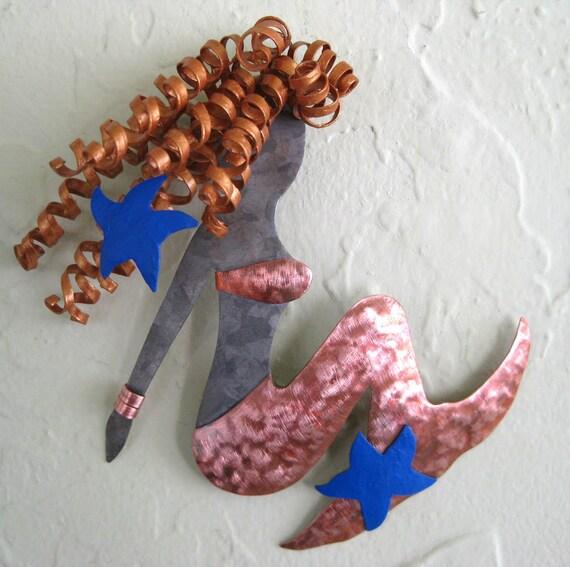 Marine wall art - Lily - upcycled metal ocean art bathroom beach house wall decor