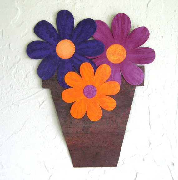 Sale Kitchen Art sculpture  - Flower Pot - wall sculpture upcycled metal kitchen decor