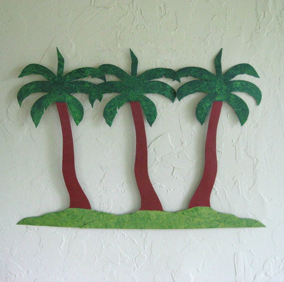 Metal Wall Art Palm Tree Island Decor Recycled Metal Wall Sculpture Beach House Coastal Wall Art 17 x 23