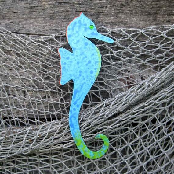 Seahorse Original Turquoise Tropical Wall Art Hanging Handmade from Repurposed Metal