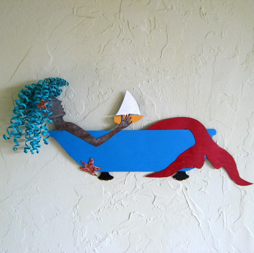 Metal Wall Mermaid Art Sculpture Bathtub Mermaid Wall Decor