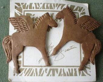 Vintage bronze PEGASUS dream earrings