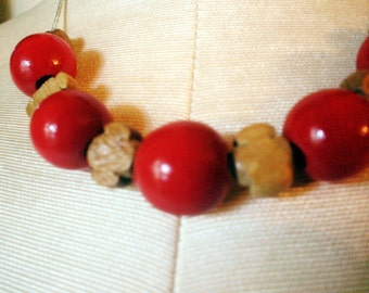 RICHARME Red and Tan Wood Bead Necklace