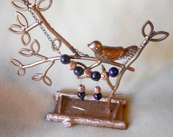 RICHARME Purple Amethyst Agate Pendant and Wooden Washi Bead Necklace & Earring Set