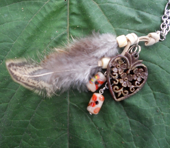 Bohemian Long Feather Carve Heart and Vintage Bead Dangle Necklace Tan Brown