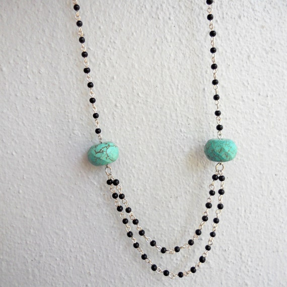 Faceted Genuine Turquoise Bead Vintage Style Librarian Necklace