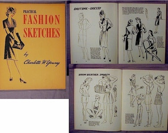 Old Orig. 1943 Fashion Sketches How to Draw Book