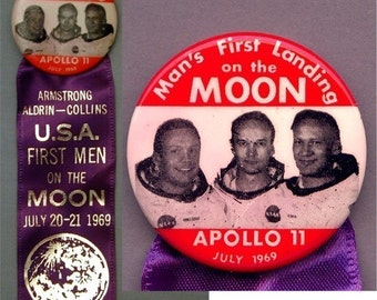 Original 1969 APOLLO 11 Pin w/ Ribbon Space Program