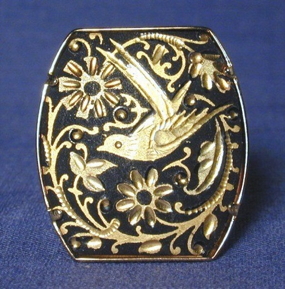Vintage Damascene Etched Ring BIRD IN THE FLOWERS
