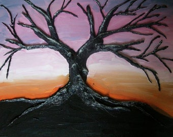 Sunlit Sunset - 16x20 inches original acrylic painting