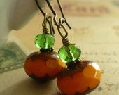 Czech Glass and Antiqued Bronze Earrings - Citrouilles