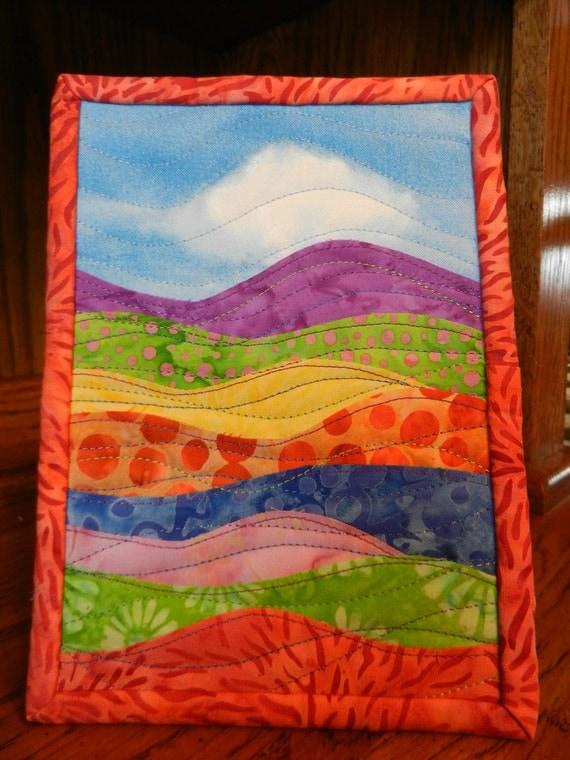 """Landscape Batik Art Quilt, displays on 5 x 7"""" easel frame"""