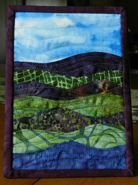 """Landscape Art Quilt Mini Batik Quilt, 5 x 7"""""""