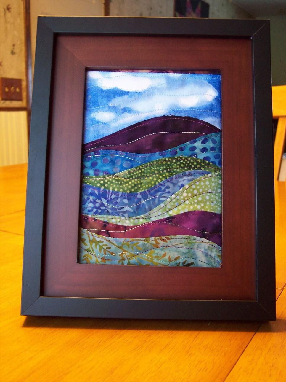 Landscape Art Quilt Framed Batik Fabrics