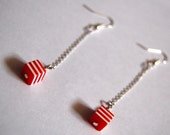 Red and White Striped Cube Earrings