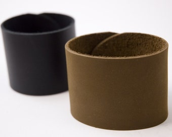 Wide Leather Cuff Bracelets with Standard Snap or Peg