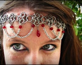 The Ruby red crystal Flowerette chainmail headband/choker crown chainmaille