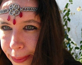 The Aurora Ruby Celtic chainmail headband/choker chain maille