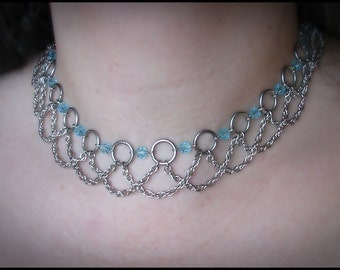 Morghanna le Fae Aquamarine crystal necklace renaissance fantasy chainmail