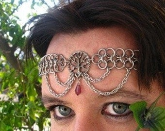 Tree of Life chainmail Headband/Choker Amethyst chainmaille crown tiara