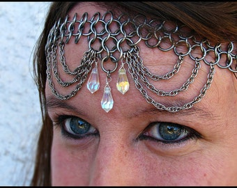 Crystal Clear rainbow  teardrop and drape Chainmail Headband/Choker chainmaille crown